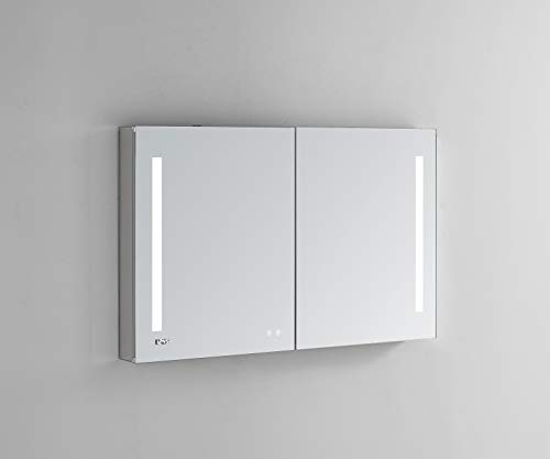 AQUADOM 48in x 30in x 5in Signature Royale LED Lighted Mirror Glass Medicine Cabinet for Bathroom, 3D Color Temperature Lights Cool/Warm, Clock, Defogger, Dimmer, Outlet with USB