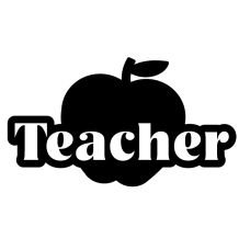 [Teacher Apple Vinyl Decal Sticker | Cars Trucks Vans Walls Laptops Cups | Black | 5.5 inches |] (Costumes For Teachers)