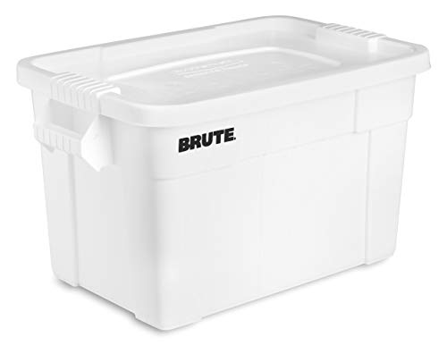 Rubbermaid Commercial Products Brute Tote Storage Container with Lid, 20-Gallon, White (FG9S3100WHT) (Pack of 6) ()