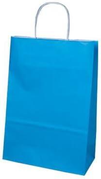 der-verpackungs-profi GmbH 300 Papiertragetaschen mit gedrehter Papierkordel 18+8x22cm Tragetaschen Beutel Tüten (hellblau)