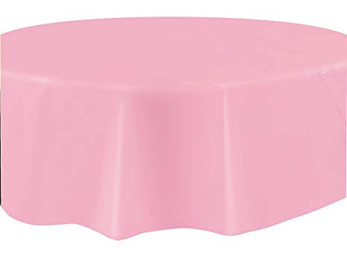 Round Light Pink Plastic Tablecloth, 84