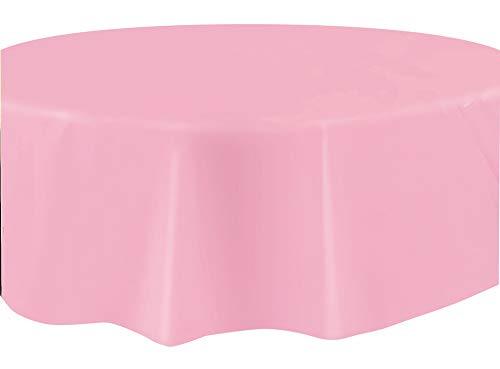 - Round Light Pink Plastic Tablecloth, 84