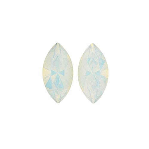 Navette Fancy Stone - Swarovski Crystal, 4228 Xilion Navette Fancy Stone 8x4mm, 2 Pieces, White Opal F