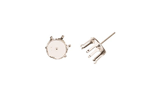 Round Snap-On Ear Stud Silver Plated Brass Fits 10mm Cabochons And Crystal With Surgical Stainless Steel Pin 11X11mm sold per 16pcs ()