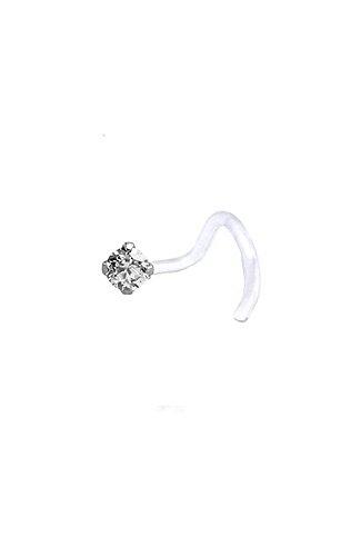 Bioflex Push Pin Labret Nose Screw Stud Ring 3mm Navy Blue CZ 18G