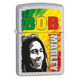 Zippo Bob Marley Pocket Lighter, Satin Chrome