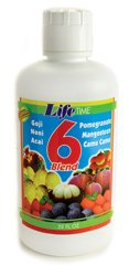 6 Blend Juice (Goji, Noni, Acai, Pomegranate, Mangosteen, Camu ) LifeTime 32 oz Liquid (Pure Acai Fruit)