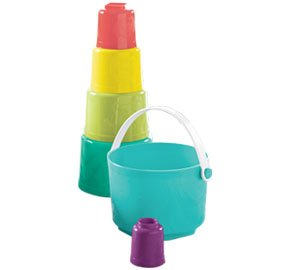 Tupperware Tote-em Pails Toy Stacking Counting Kids Baby Infant New Pastels Mint Green by Tupperware
