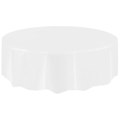 M(83.8in) Plain colour Disposable Plastic Table cloth Circular Table Cover (White) (Queens Plain Cake Plate)