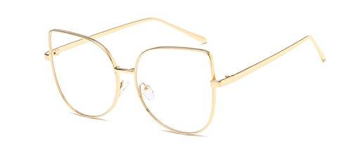 GigaMax TM Vintage Cat Eye Glasses Women Frame Glasses Metal Blue Membran Lenses Eyeglasses Women Brand Designer oculos de grau feminino[ Gold ]