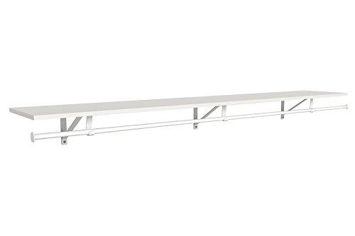 ClosetMaid 3305340 Wood Shelf with Hang Rod, 6-Foot X 12-Inch, White (Closet Rod Mounted Wall)