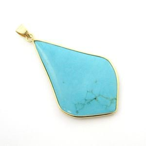 Turquoise Long Diamond Shape Pendant, 24K Gold Edging (Gold Edging)