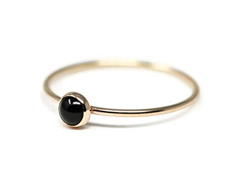 Round 4 mm Black Onyx and 14K Gold Filled Skinny Ring Sizes 5-8