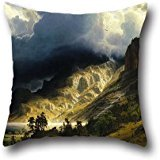 Pillowcover Of Oil Painting Albert Bierstadt - A Storm In The Rocky Mountains, Mt. Rosalie,for Drawing Room,play Room,boys,him,bar,play Room 18 X 18 Inches / 45 By 45 Cm(twice Sides)