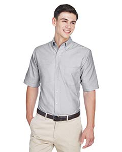 ULTRACLUB 8972 UltraClub® Men's Classic Wrinkle-Free Short-Sleeve Oxford 8972-simple,L,Charcoal(60/40)