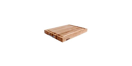 Cutting Reversible Board Wooden - John Boos Reversible Maple Edge Grain Cutting Board with Juice Groove and Chrome Handles, 24 Inches x 18 Inches x 2.25 Inches