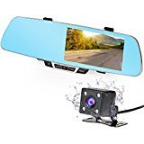 """NEXGADGET Dash Cam,5.0"""" Full HD 1080P 150° Wide Angle Dual Dashboard Camera Car DVR Camcorder Vehicle Rear View Backup Camera with Reverse Parking System (Blue)"""