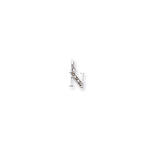 Solid 14k White Gold Polished .01ct Diamond Initial N Pendant Charm (8mm x 15mm)