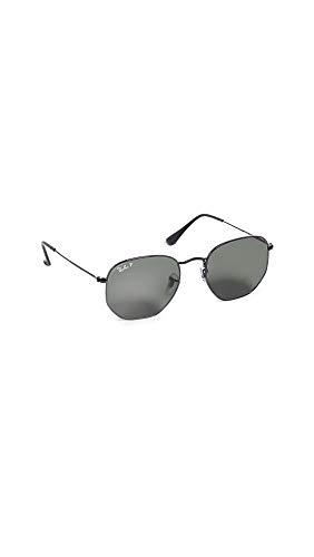 Ray-Ban Women's RB3548N Polarized Hexagonal Sunglasses, Black/Grey, One Size