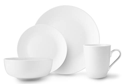 ROSCHER Dinnerware Dish Set (16-Piece) White, Ceramic Round coupe Dishes   Dinner and Salad Plates, Appetizer Bowls, Drink Mugs   Classic Kitchen Style   Dishwasher Safe
