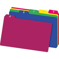 Preprinted Index Card Guides (Office Depot A-Z Index Card Guides, 4in. x 6in., Assorted Colors, Pack Of 25, OD73154)