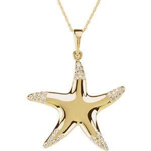 Jambs Jewelry 14K Yellow 1/5 CTW Diamond Starfish 18