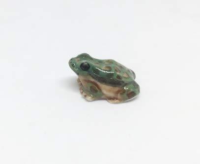 Studio one Handmade Animal Figurine Porcelain Ceramic Lovely Mini Green Frog Collection Best Gift