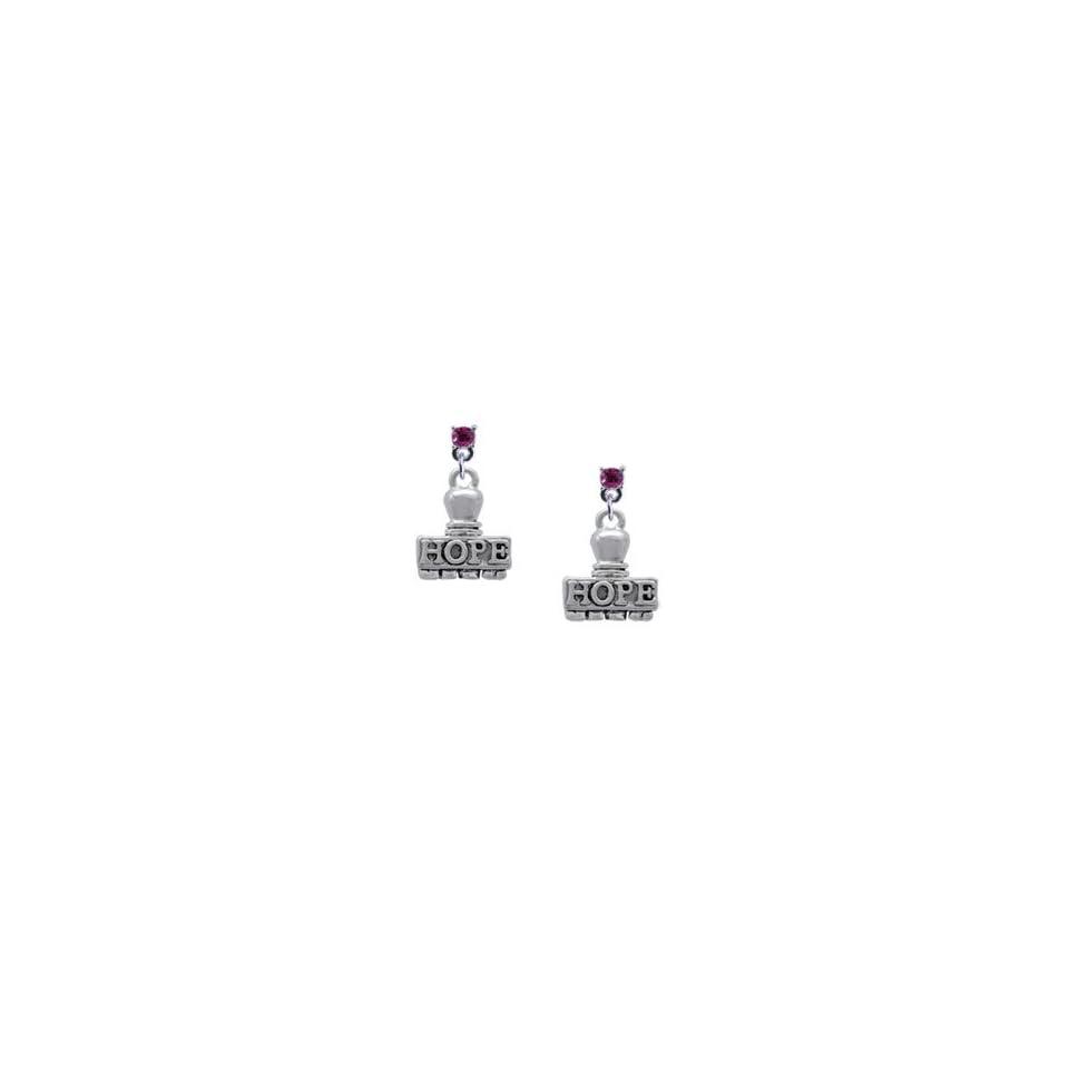 HOPE Stamp Hot Pink Swarovski Post Charm Earrings [Jewelry] [Jewelry]