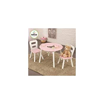 Fantastic Kidkraft Round Storage White Pink Table And 2 Chairs Set Pabps2019 Chair Design Images Pabps2019Com