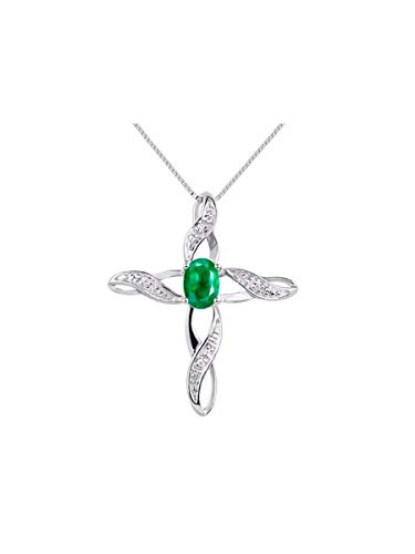 Diamond & Emerald Cross Pendant Necklace Set In 14K White Gold with 18