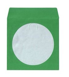 100 Green Color Paper CD Sleeves with Window & Flap