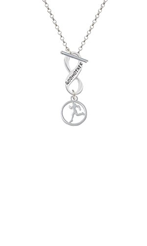 (Silvertone Runner Silhouette in 1/2'' Disc Godmother Infinity Toggle Chain Necklace)