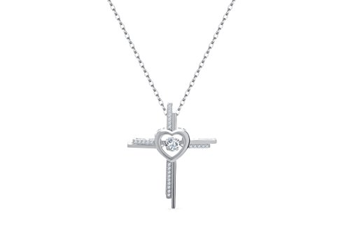 Double Cross Pendant - NYC Sterling Women Cubic Zirconia Double Row Cross Dancing Stone Pendant Necklace