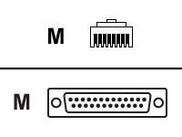 Black Db25m Adapter (IOLAN RJ45F to DB25M (DTE) Crossover Adapter)