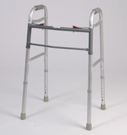 Walking Aid - Dual Button Folding Walker with red button. Extra bar for support. Adjustible height. 250lb weight capacity