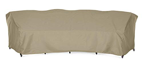 SunPatio Outdoor Crescent Curved Sectional Sofa Cover with Seam Taped, 150″L(back)/112″L(front) x 36″W x 38″H, Waterproof PatioFurniture Sofa Cover, Lightweight, All Weather Protection, Neutral Taupe