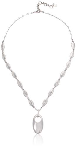 Lucky Brand Women's Oval Coin Necklace, Silver, One Size