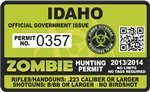 "Yellow Dog Idaho ID Zombie Hunting Permit - Hunter Response Biohazard Team Unit - 4"" Outbreak Sticker"
