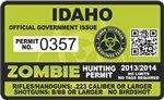 """Idaho ID Zombie Hunting Permit Decal 4"""" x 2.4"""" Outbreak Sticker"""