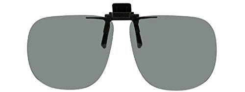 Polarized Black Metal Clip On Flip Up Grey / Gray Sunglass Lenses, Large Square, 64mm Wide X 56mm High, 147mm Wide with - Shop Sale Sunglasses