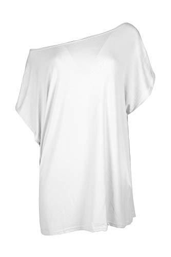 Fashion Star Womens Ladies Plain Slash Neck Baggy Off Shoulder Oversized Bardot Batwing T Shirt Top