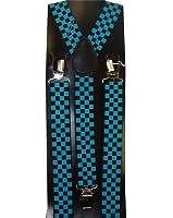 Outer Rebel Fashion Suspenders- Turquoise & Black Mini Check