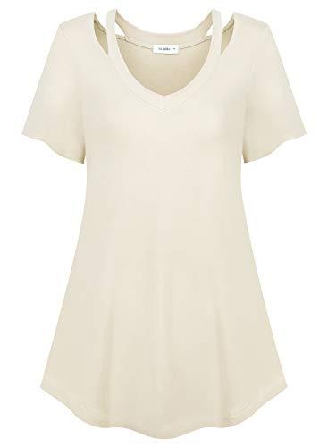 (Siddhe 3X Women's Short Sleeve Tunic Tops Casual Loose Cold Shoulder Blouse Shirts, Cream XXXL)