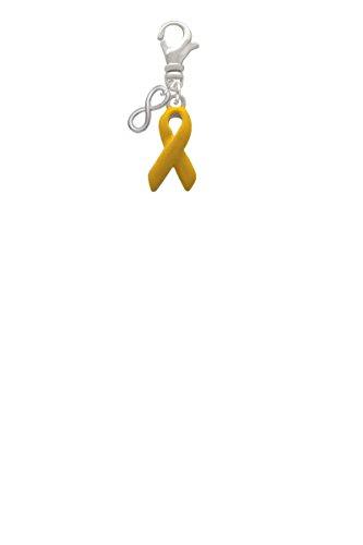 Yellow Ribbon Mini Infinity Clip On Charm