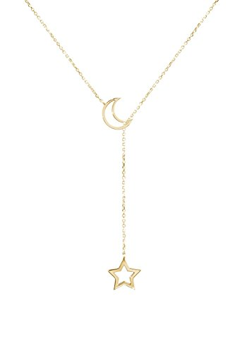 Moon Star Lariat, 9K, 14K, 18K Gold Necklace, Yellow Gold, Gift For Her, Gold Moon And Star Necklace /code: ntg12: 0.002 by Tales In Gold