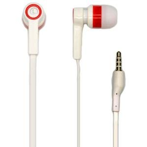 Universal 3.5mm Deluxe Stereo Earbuds with Microphone in White, with flat noodle style wire.
