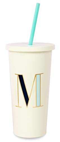 Initial Tumbler - Kate Spade New York Insulated Initial Tumbler with Reusable Silicone Straw, 20 Ounces, M (Blue)