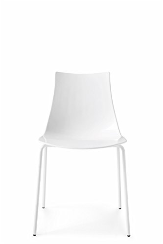 Connubia Ice Chair - Metal Stained Matt Optic White Frame - Glossy Optic White (Calligaris Modern Chair)