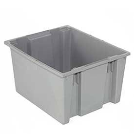 Quantum Stack And Nest Tote Box - 29-1/2 X19-1/2 X15'' - Gray - Gray - Lot of 3 by Quantum
