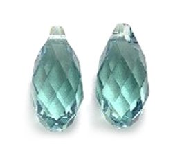 Swarovski Briolette Drop (Swarovski 6010 Briolette Drop Beads, Transparent, Erinite, 6.5 by 13mm, 2 Per Pack)